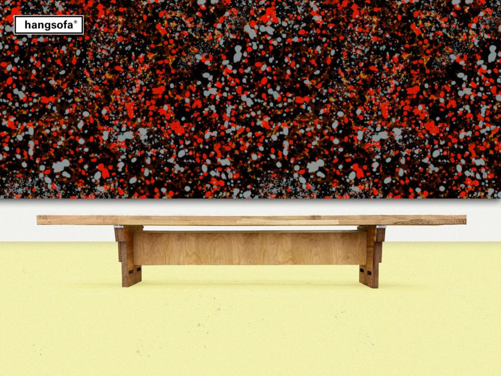 Sitzbank im Kunstmuseum vor abstraktem Bild